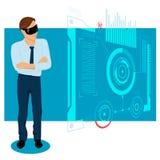 De Illustratie van zakenmanin the future Stock Foto
