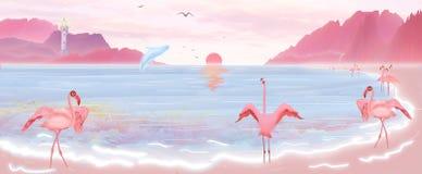 De illustratie van de zonstijgingen van het overzees, en de flamingo's en blauwe vinvissen spelen op de stranden van het Eiland H royalty-vrije illustratie