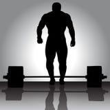De illustratie Weightlifter met barbell Stock Afbeelding