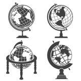 De illustratie zwart-wit reeks van de aardebol Stock Fotografie