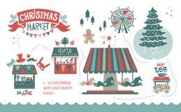 De illustratieaffiche van de Kerstmismarkt stock foto