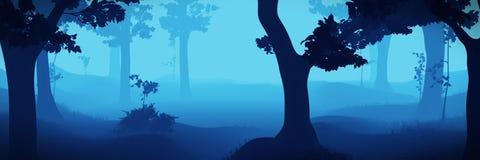 De illustratiebanner van het mistige fantasie bos, blauwe 3d landschap Royalty-vrije Stock Afbeeldingen