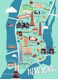 De Illustratiekaart van New York Manhattan Royalty-vrije Stock Afbeeldingen