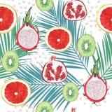 De illustratiepatroon van het waterverf exotisch fruit Stock Fotografie