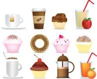 De illustratiereeks van de koffie en van de cake Stock Foto