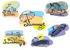 De illustratiereeks van de zomerschets Stock Foto's