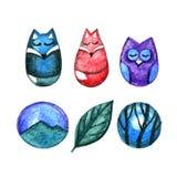 De illustratiereeks van het Watercolourpotlood leuke dieren Vos, wolf en uil Het ontwerpembleem van boombergen Royalty-vrije Stock Afbeelding
