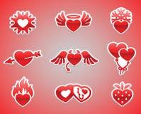 De illustraties en de typografie van de valentijnskaartendag Royalty-vrije Stock Foto