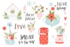 De illustraties en de van letters voorziende lente overhandigen getrokken reeks vector illustratie