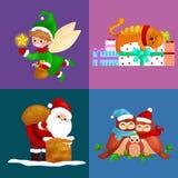 De illustraties geplaatst Vrolijke Kerstmis Gelukkig nieuw jaar, meisje zingen vakantieliederen met huisdieren, sneeuwmangiften,  Stock Afbeeldingen