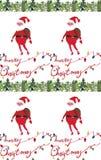 De illustraties naadloos patroon van waterverfkerstmis met de Kerstman en Vrolijk Kerstmisexemplaar Thema van het de winter het n vector illustratie
