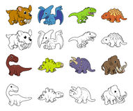 De Illustraties van de beeldverhaaldinosaurus Stock Afbeelding
