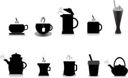 De illustraties van de koffie en van de thee Stock Foto's