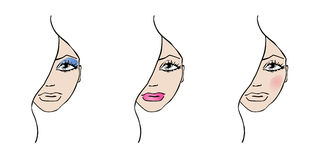De illustraties van de make-up Stock Afbeeldingen