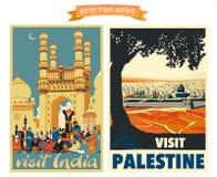De illustraties van de reisaffiche s met uitstekende Europese vakantiebestemmingen Stock Foto's