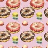 De illustraties van de doughnutwaterverf op witte achtergrond worden geïsoleerd die Naadloos patroon met kleurrijke donuts met gl royalty-vrije stock fotografie