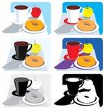 De illustraties van het ontbijt Stock Foto's