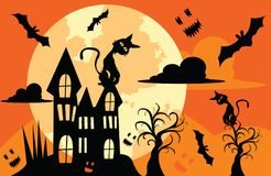De illustraties voor Halloween, het grote huis heeft knuppels die rond vliegen Stock Afbeelding