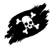 De illustratieschedel en beenderen van de piraatvlag grunge vector illustratie