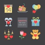 De illustratiesset1 vlakke kleur van valentijnskaartenpictogrammen Stock Foto