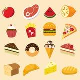De illustratiestijl van het voedsel vastgestelde pictogram royalty-vrije illustratie