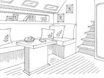De illustratievector van de jacht binnenlandse grafische zwarte witte schets royalty-vrije illustratie