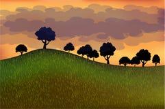 De illustrator van de landschapszomer Stock Afbeeldingen