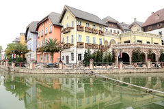De imitatie bouw van de stad van Oostenrijk hallstatt stock afbeeldingen
