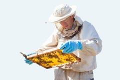 De imker werkt met bijen en bijenkorven aan de bijenstal Imker op bijenstal Geïsoleerde Stock Afbeeldingen
