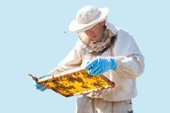De imker werkt met bijen en bijenkorven aan de bijenstal Imker op bijenstal Geïsoleerde Royalty-vrije Stock Foto