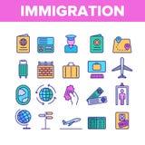 De immigratie, reist in het buitenland Vector Lineaire Geplaatste Pictogrammen vector illustratie