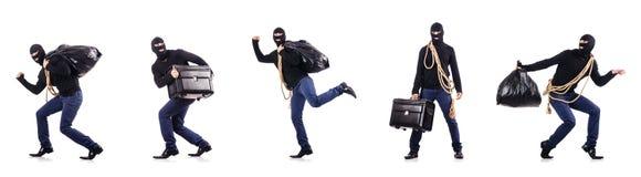 De inbreker die die balaclava dragen op wit wordt geïsoleerd royalty-vrije stock foto