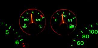 De Indexen van de brandstof en van de Temperatuur in de Duisternis Stock Foto