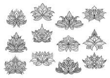De Indische bloemen van Paisley met kantornamenten Royalty-vrije Stock Afbeelding