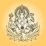 De Indische god van Lordganesha met olifantshoofd royalty-vrije illustratie