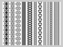 De Indische Henna Border-patronen van decoratieelementen Royalty-vrije Stock Foto