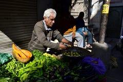 De Indische mens verkoopt groenten op een kar op de markt Stock Fotografie