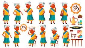 De Indische Oude Vrouw stelt Vastgestelde Vector Bejaarde mensen Hogere persoon oud Actieve Grootouder vreugde Presentatie, Druk royalty-vrije illustratie