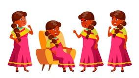 De Indische Oude Vrouw stelt Vastgestelde Vector Bejaarde mensen Hogere persoon oud Actieve Grootouder vreugde Web, Brochure, Aff vector illustratie