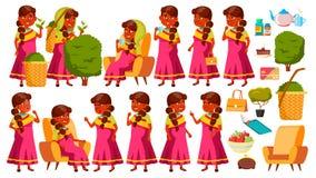 De Indische Oude Vrouw stelt Vastgestelde Vector Bejaarde mensen Hogere persoon oud Grappige Gepensioneerde leisure Prentbriefkaa vector illustratie