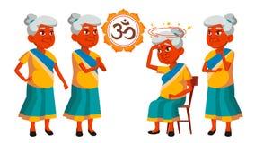 De Indische Oude Vrouw stelt Vastgestelde Vector Bejaarde mensen Hogere persoon oud Mooie Gepensioneerde life Ontwerp Geïsoleerde royalty-vrije illustratie