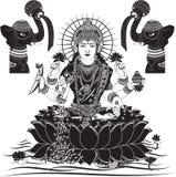 De Indische vectorillustratie van Godinlakshmi voor diwali Stock Foto