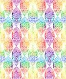 De Indische verticaal van de het ornamentruit van het elementendetail maakte met de hand met het naadloze patroon van de regenboo vector illustratie