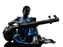De Indische vrouw van de tempuramusicus   silhouet Stock Afbeelding