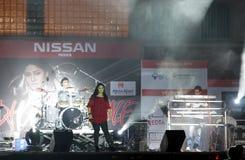 De Indische zanger Sunidhi Chauhan presteert in Bahrein Royalty-vrije Stock Foto's