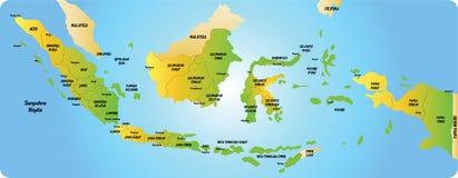 De Indonesische Eilanden brengen Vectorillustratie in kaart Stock Foto