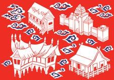 De Indonesische Traditionele Batik van de Huis Vectorillustratie Stock Afbeelding