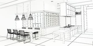 De indrukwekkende keuken van het architectenplan Royalty-vrije Stock Afbeelding