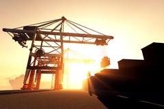 De industriële 3D Zonsopgang van de Zonsondergang van de Haven geeft 1 terug Stock Foto's
