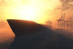 De industriële 3D Zonsopgang van de Zonsondergang van de Haven geeft 5 terug Stock Afbeeldingen